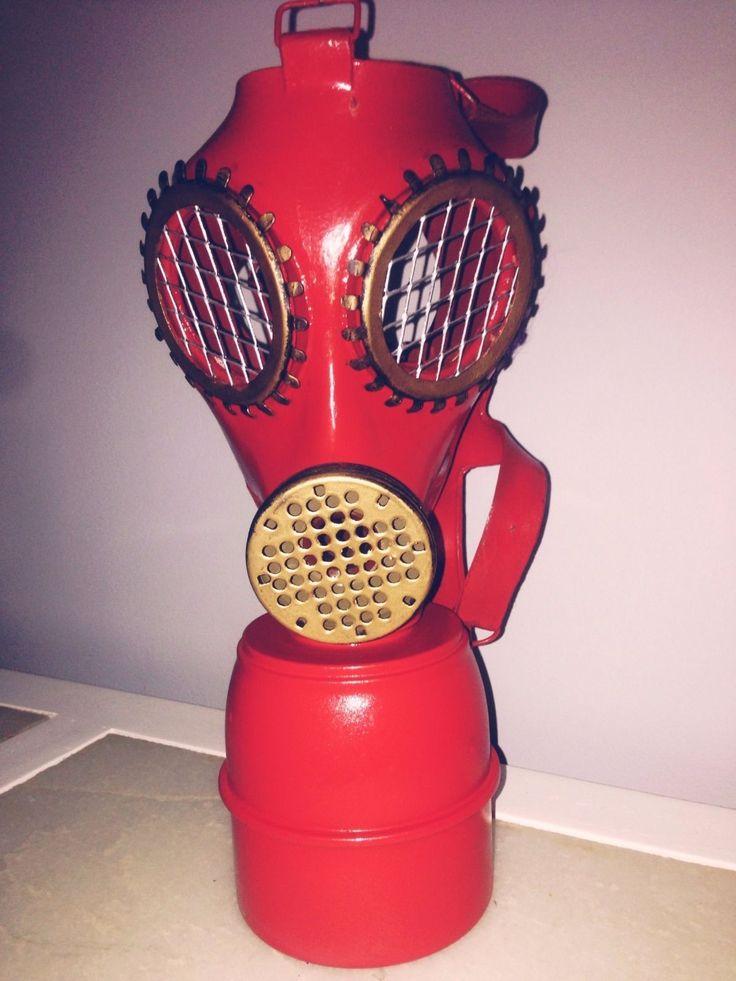 masque à gaz rouge et or customisé | eBay