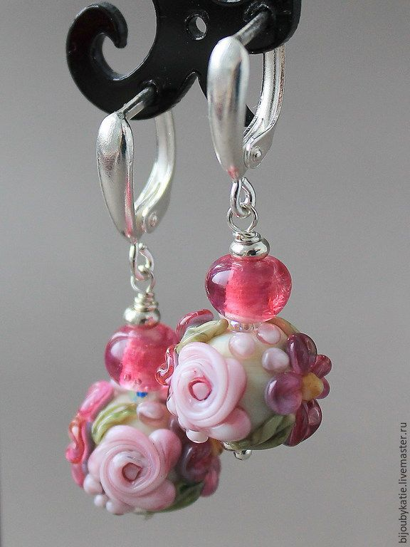 Купить Серьги Лэмпворк рубиновые - серьги, сережки, серьги и сережки, сережки и серьги, серьги лэмпворк