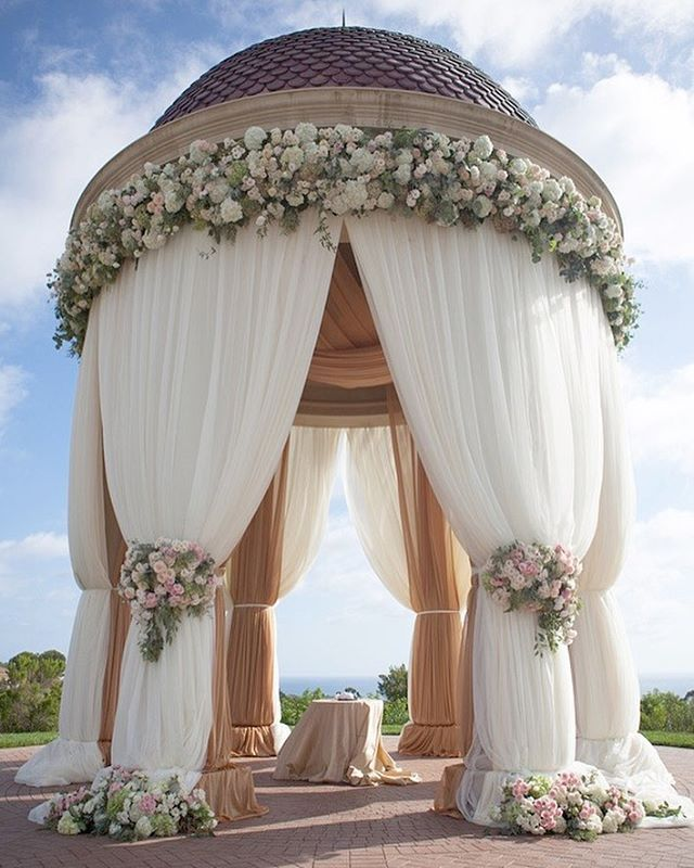 Romantic Gazebo with Drapery & Flowers | Photo: Christine Bentley Photography. View More: https://www.insideweddings.com/biz/christine-bentley-photography-irvine/8394/