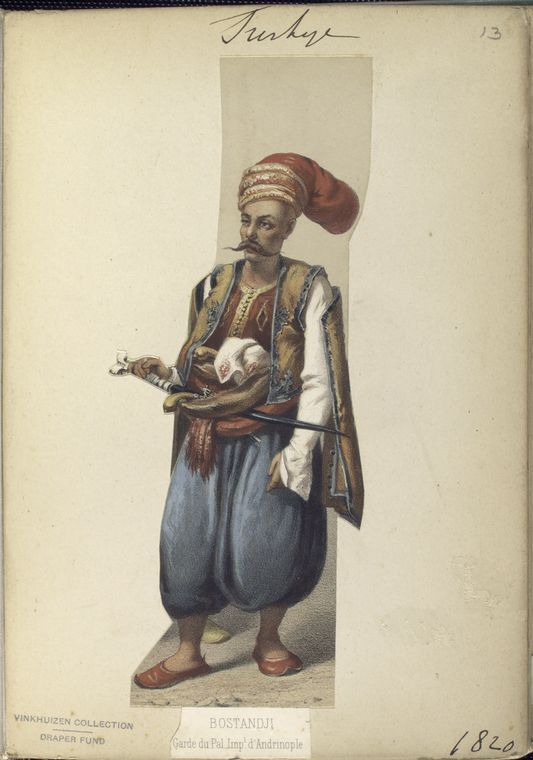 Imperial Palace Guard of Adrianople. The Vinkhuijzen collection of military uniforms / Turkey, 1818. See McLean's Turkish Army of 1810-1817.