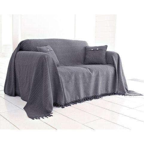 Boutis, plaid ou jeté de canapé uni en coton Becquet - Parme- Vue 1