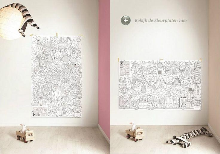 Feest! Zoek je een leuke activiteit voor een kinderfeestje van een 5 jarige, plak dan deze reuze posters van KEK Amsterdam op de muur of leg ze op de grond en kleuren maar. Gespot op: http://www.zook.nl/kinderfeestje-5-jaar-thuis-organiseren-tips #kinderfeestje