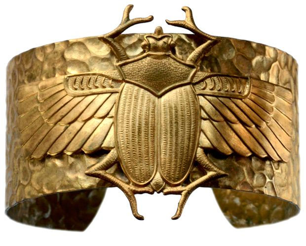Egyptian Revival Winged Scarab Bracelet, Gilt Brass, 1939-1950