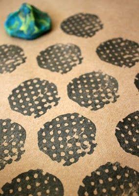 plasticine stamp printing - ingenious!
