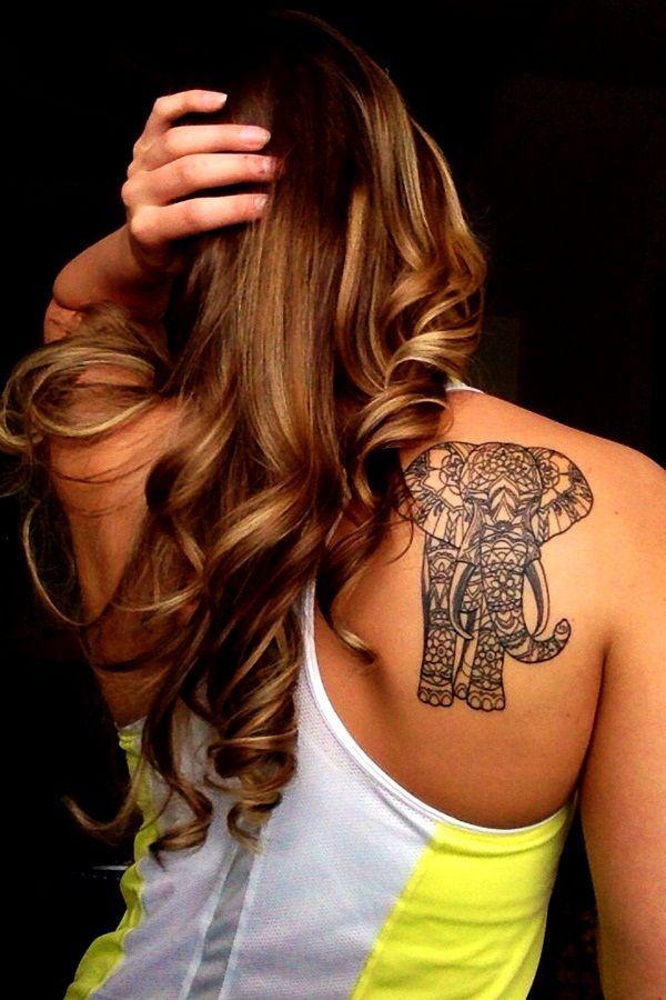 20 Best Tattoos for Girls ~Elephant on Shoulder