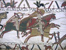 Tapisserie de Bayeux : la mort du roi Harold le 14 oct 1066-  on donne ce nom à une broderie de laine sur toile de lin, c'est une des rares œuvres profanes du haut Moyen Age, la vivacité des coloris, le sens aigu du mouvement qui la caractérisent en font un véritable chef d'œuvre d'art naïf. On pense qu'elle fut commandée par l'évêque Odon pour orner la cathédrale de Bayeux (fin 11°s)