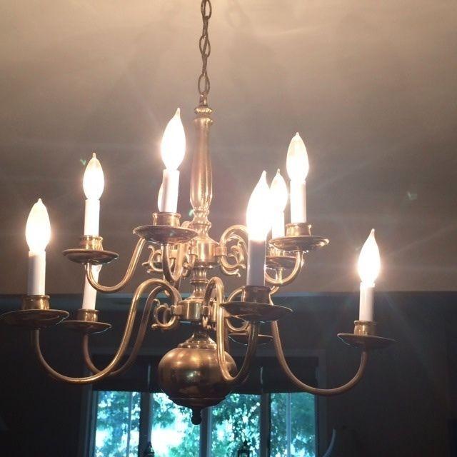 10 Arm Brass Dining Room Chandelier