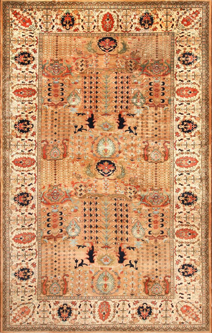 View This Absolutely Breathtaking Large Room Size Lathe 20th Century  Vintage Indian Agra Rug #49186