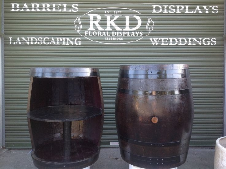Wine Barrel stained and with shelve by RKD Floral Displays