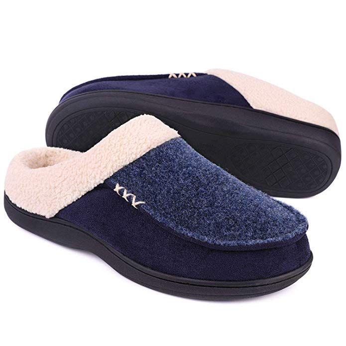 LongBay Men's Memory Foam Slippers Wool Like Plush Fleece