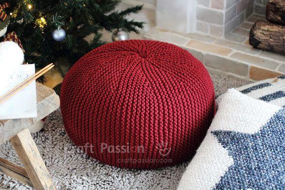Cherry Red Pouf | AllFreeKnitting.com