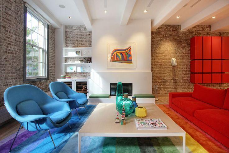 foorni.pl | Apartament przy Greenwich St. - cegła, kolorowe wnętrze