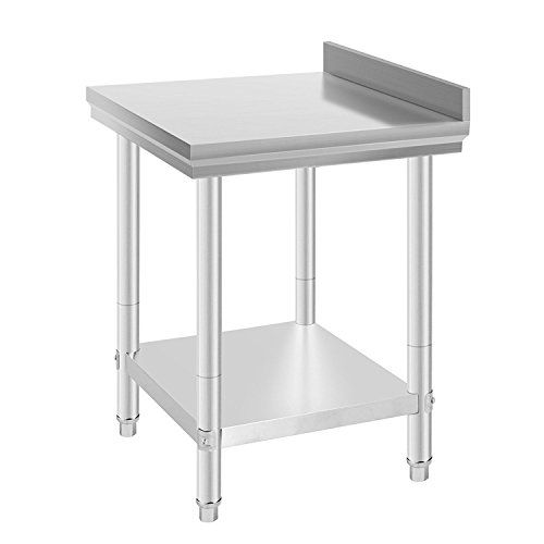 "Popsport Stainless Steel Work Table 24x24 Inch Kitchen Work Prep Table Work Food Prep Table with Backsplash for Commercial Kitchen and Restaurant ( 24x24 Inch with Backsplash )  Stainless steel work table material: 201 Non-magnetic stainless steel;Overall Dimension: 24"" (L) x 24"" (W) x 35"" (H);Legs: 1-5/8"" Stainless steel legs  The stainless steel work tables are all NSF certified for health inspections.Provide large storage space;The 2"" backsplash protects your walls from scratches an..."