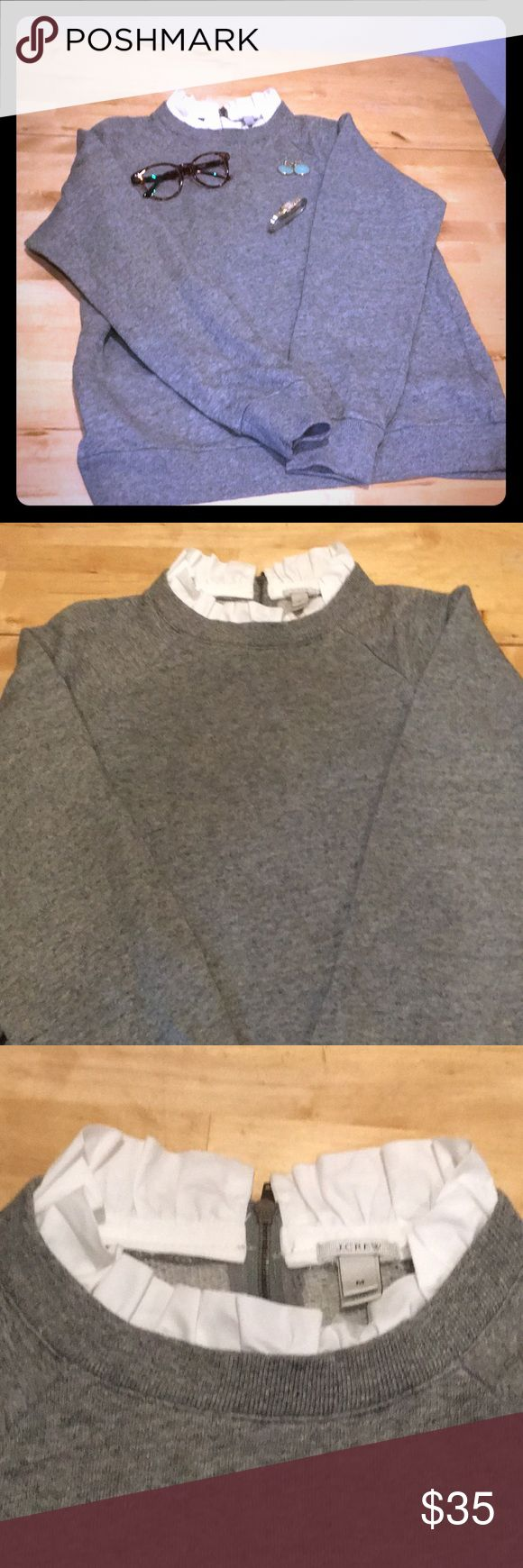 NWOT j. Crew grey dressy sweater with white collar Absolutely gorgeous sweater. So dressy with a long necklace and skirt J. Crew Sweaters Cardigans