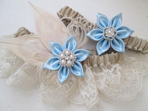Burlap & Lace Wedding Garter Set, Something Blue Garters, Ivory Peacock Garters, Rustic Bridal Garter with Light Blue Flowers, Country Bride