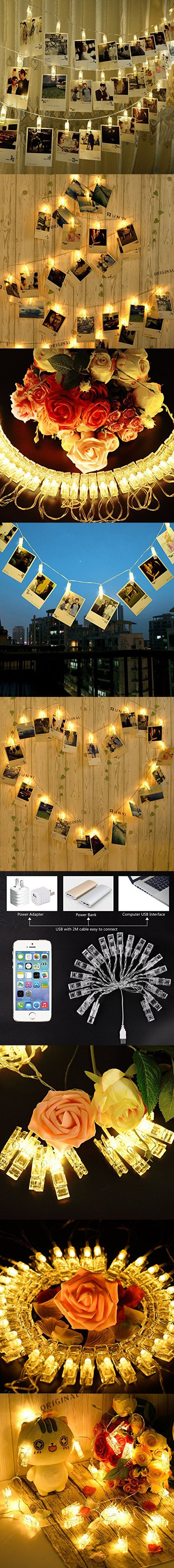Photo Clips String Lights, CtopoGo USB Powered 40 LED Starry light Wall Decoration Light for Wedding Party Home Decor Lights 6 M/19.6 ft,Warm White