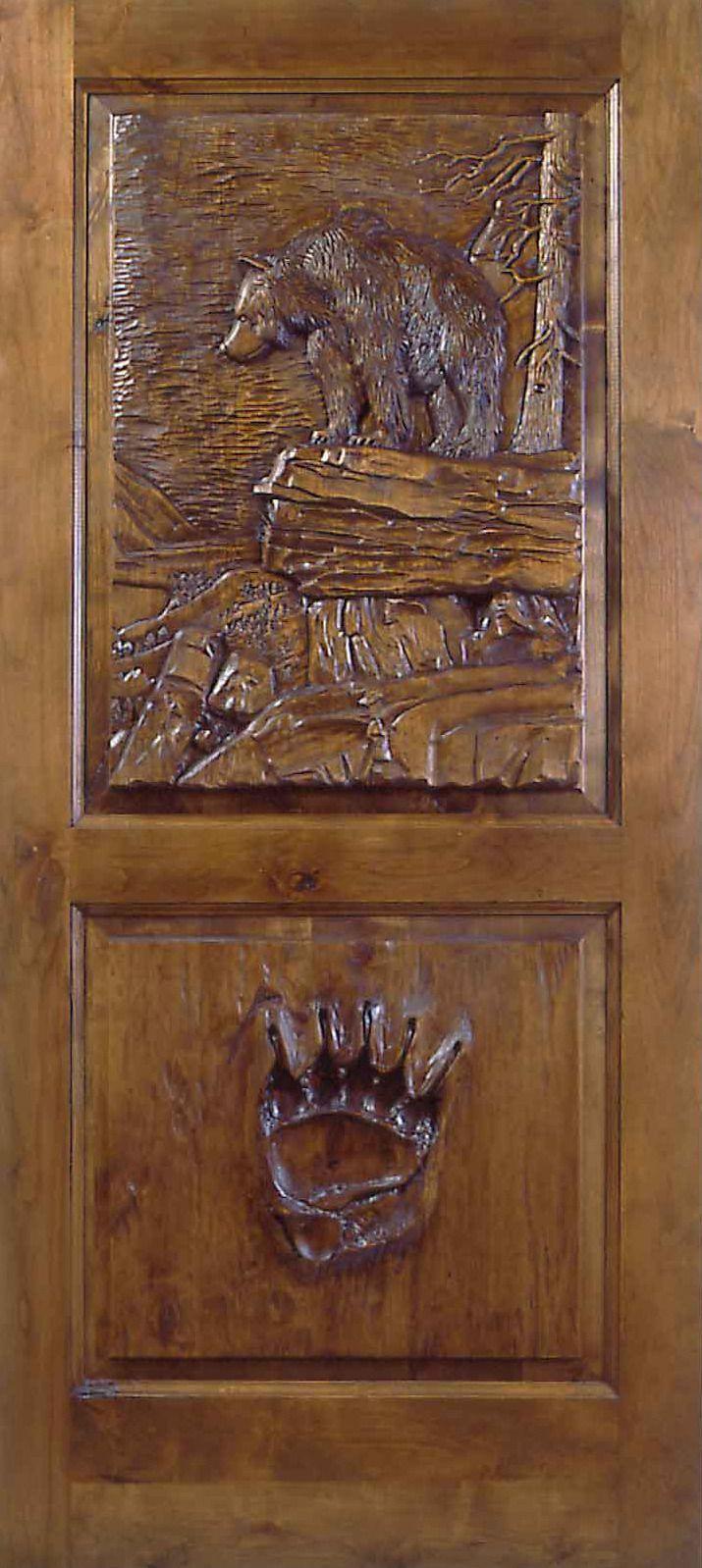 Hand carved one-of-a-kind door.Interiors Doors, Decor Ideas, Hands Carvings, Beautiful Hands, Mountain Cabin, Carvings Doors, Logs Home, Cabin Door, Wood Doors
