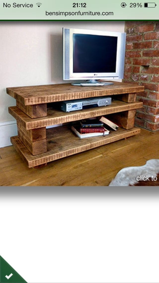 Wooden tv stand home pinterest meuble tv tv et meubles for Meuble tv console