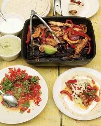 chicken fajitas with home-made guacamole and salsa: Chicken Recipe, Fun Recipe, Food Revolutions, Chicken Fajitas, Homemade Guacamole, Food Recipe, Olives Fajitas, Jamie Olives, Jamie Oliver