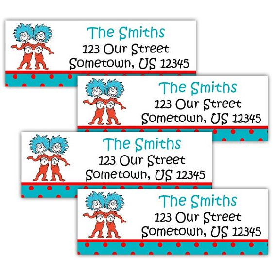 Dr Seuss Thing 1 Thing 2 - Personalized Address labels, Stickers on Etsy, $5.00
