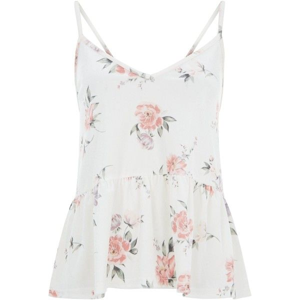 White Floral Print Velvet Peplum Cami Top (€23) ❤ liked on Polyvore featuring tops, white top, white peplum tank top, white cami, peplum tanks and white camisole
