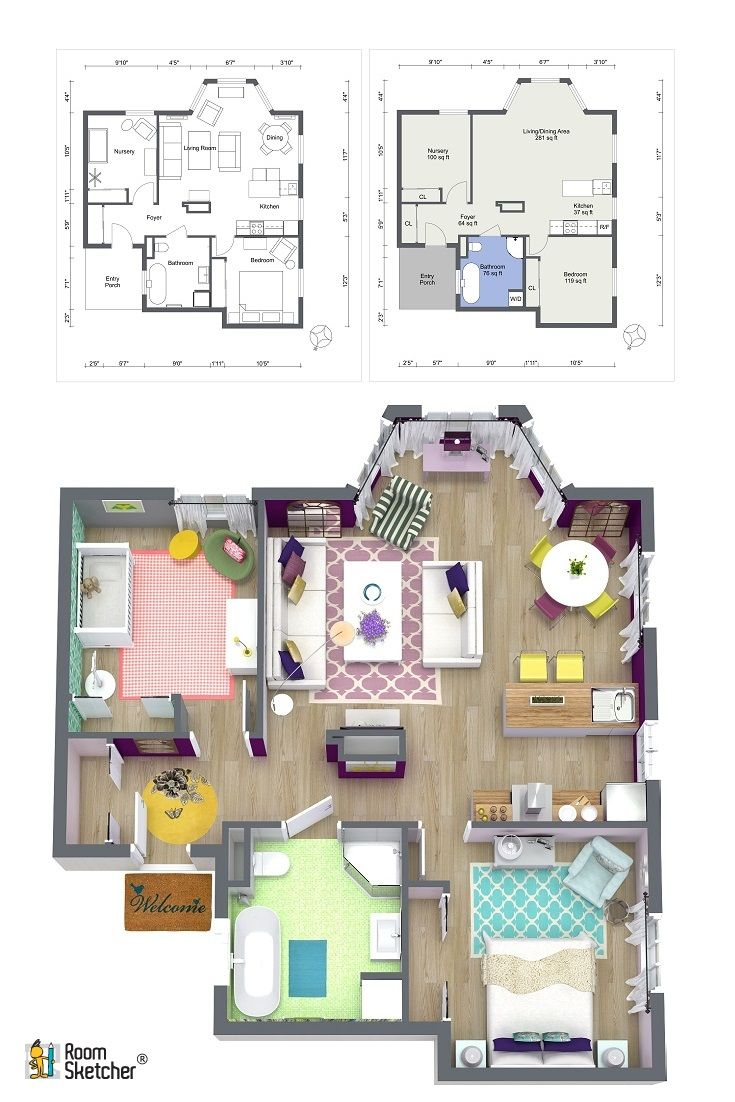 Inside House Drawing: Dream House Sketch Design Easy