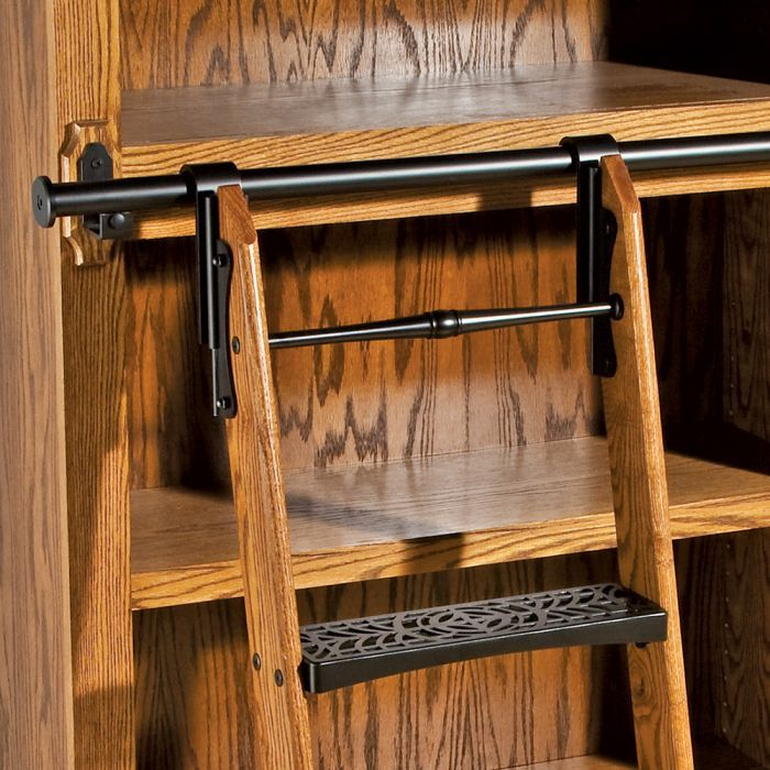 Rockler Classic Rolling Library Ladder Ladder Hardware Satin Black Interieur