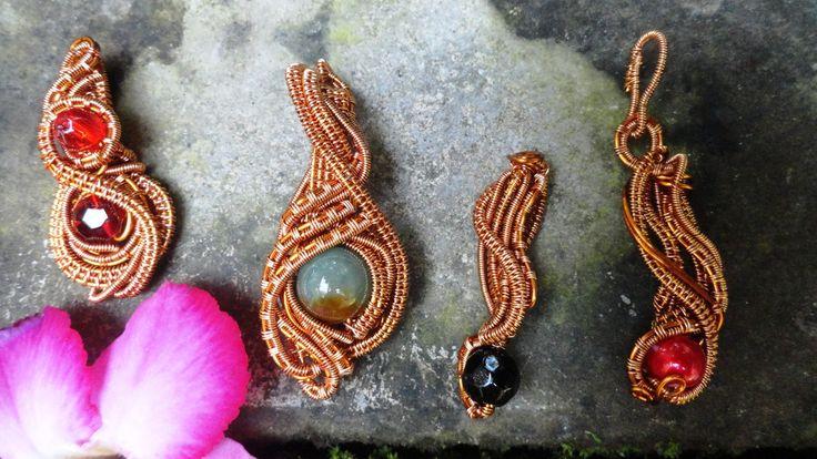 #wire_jewelry #stone_bead #copper_wire #pendant #stone_beads #jade_stone #glassbeads #pearl