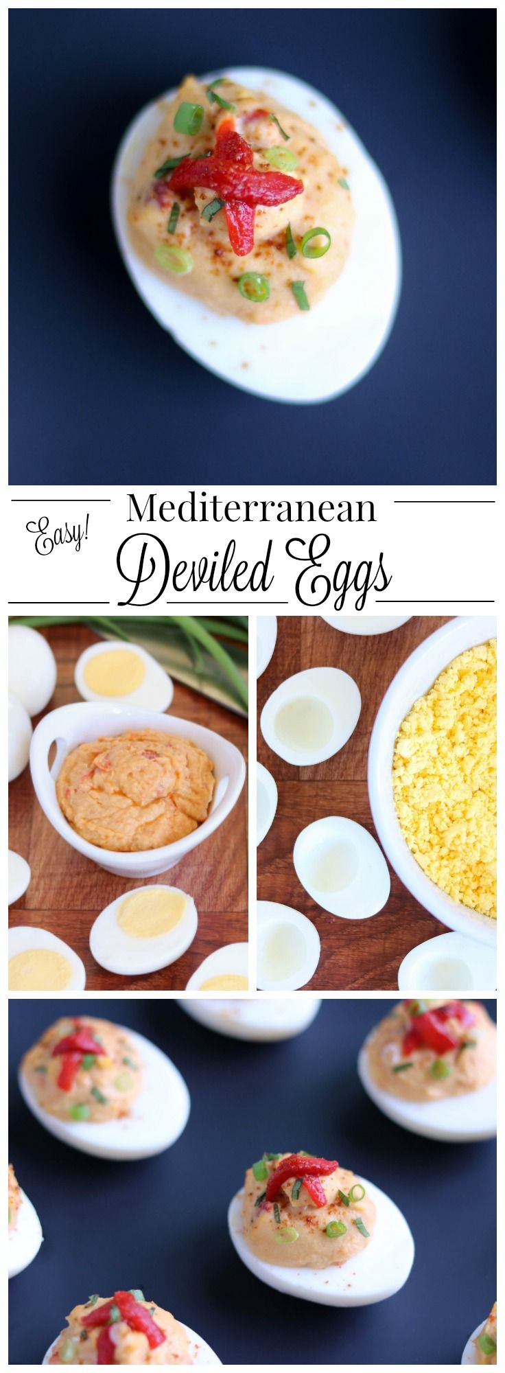 An easy, protein-packed, make-ahead recipe! These Mediterranean Hummus Deviled Eggs feature creamy roasted red pepper hummus and fresh basil. Fast enough for last-minute picnics and tailgates, yet stunning enough for fancy hors d'oeuvres parties ... and a great Easter recipe for using up leftover Easter Eggs! This easy deviled egg recipe is loaded with great flavor - yet so much healthier than traditional deviled eggs! A whole new, refreshing spin on a classic! | www.TwoHealthyKitchens.com