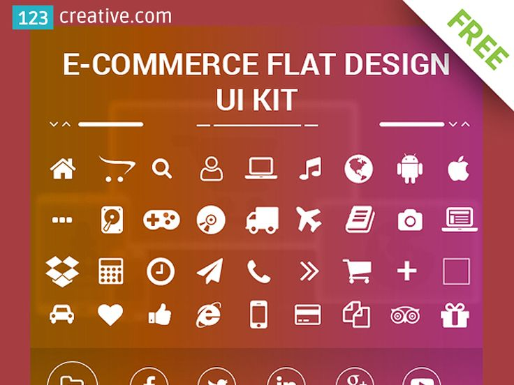 ► FREE eCOMMERCE FLAT DESIGN UI KIT - flat eCommerce icons, social media icons, sliders. Free web resources for your next project. eCommerce icons: home, folder, search, android, apple, google, delivery, transfer, call, gift, calculate, clock, buy now, photo, music, play and more. Social media icons: Facebook, Twitter, Google+, LinkedIn, YouTube. DOWNLOAD: https://www.123creative.com/graphic-design-resources-freebies/1320-free-ecommerce-flat-ui-kit.html #freeecommerceuikit
