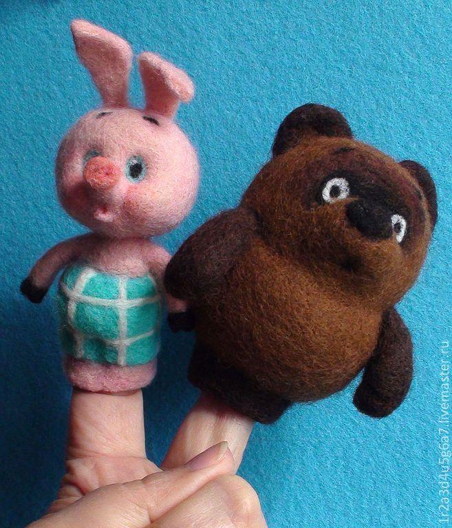 Купить Пятачок и Винни-Пух - пара мультяшных любимцев - Валяные игрушки, герои мультфильмов