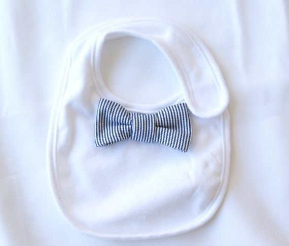 Baby Bowtie Bib cotton and terry cloth fabric blue by ChezPrudence