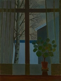 VEIKKO VIONOJA Window with Birches (1963)