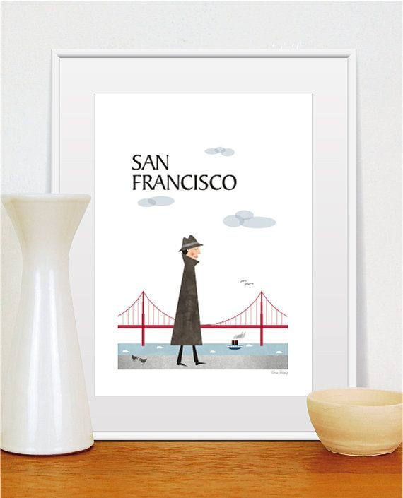 San Francisco city poster print, City art poster, Travel poster, Size A4