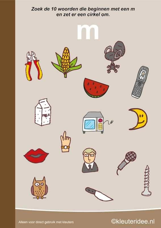 Zoek 10 woorden die beginnen met de m, kleuteridee.nl , taal voor kleuters, free printable.