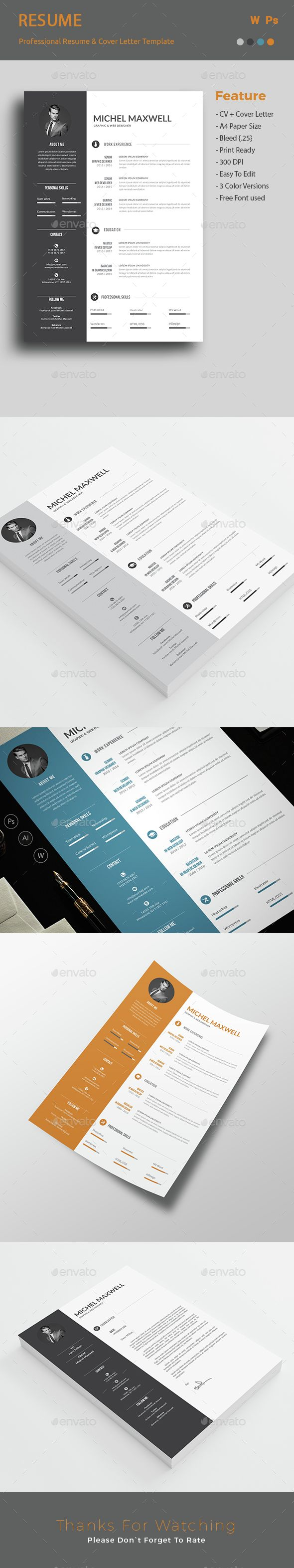 Resume Template PSD. Download here: http://graphicriver.net/item/resume/15189647?ref=ksioks