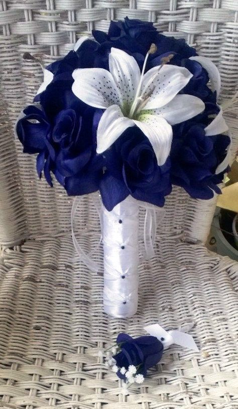 Blue Roses & White Tiger Lily Silk Bridal. This is so gorgeous!