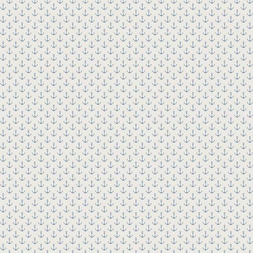 Tapet med söt-fräcka ankare i blå nyans från kollektionen Skagen 21008. Klicka för fler inspirerande tapeter för ditt hem!