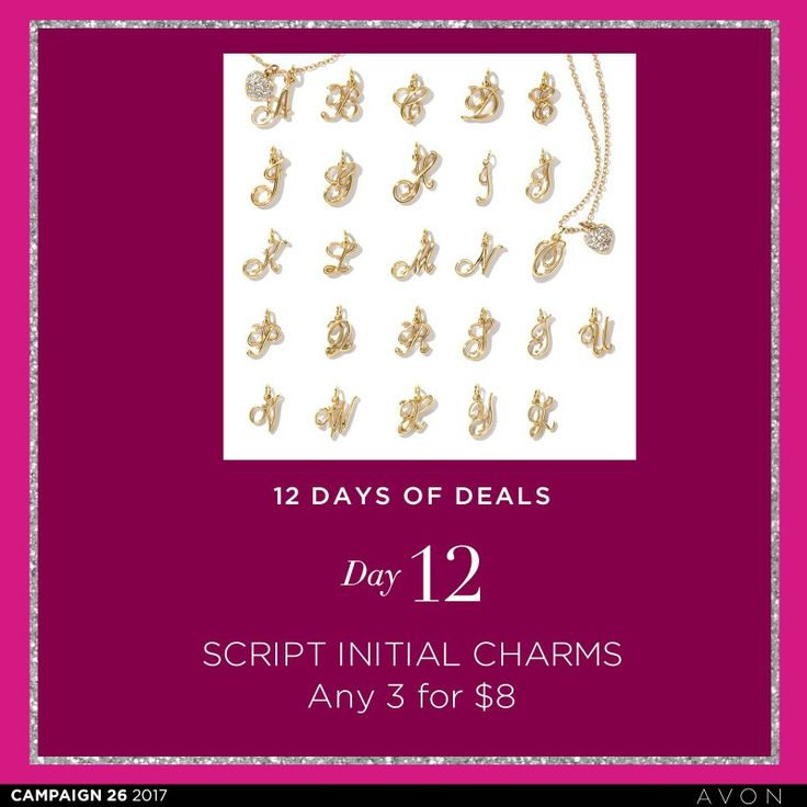 Day 12 of deals.  Any 3 charms for $8. #avoncanada #shopdeals #shoponline #charms imteravon.ca/trisha.gaudet