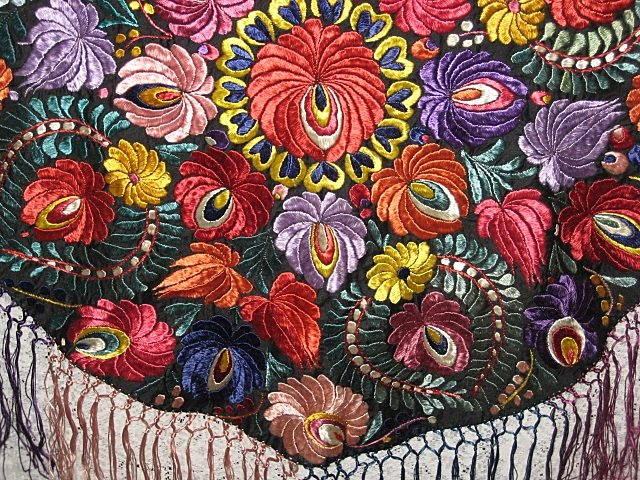 Vintage Hungarian Matyo Hand Made Round Tablecloth w/Multi-Color from victoriandreams on Ruby Lane