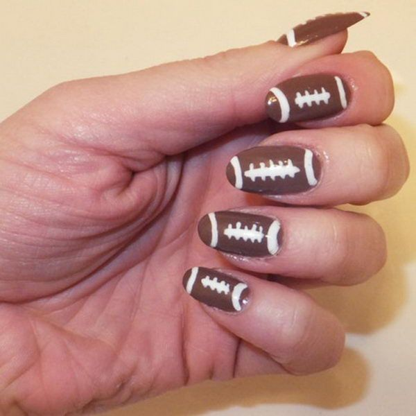 Cool Football Nail Art. A fun way to support your team and show off your team spirit throughout the football season. http://hative.com/cool-football-nail-art-designs/