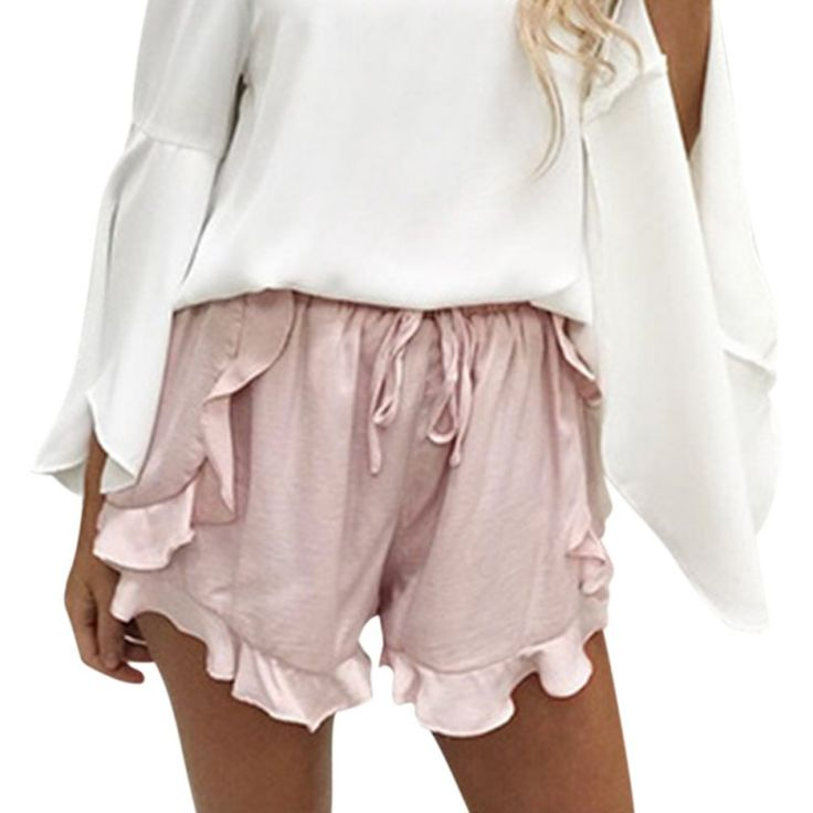 Simplee Ruffles high waist Shorts For Women Sexy Drawstring Soft Shorts  Loose Elastic Waist Streetwear Shorts
