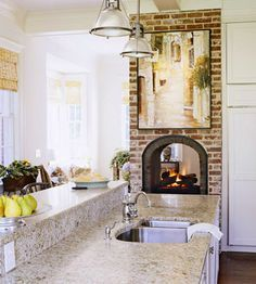 two sided painted brick fireplace - Google Search