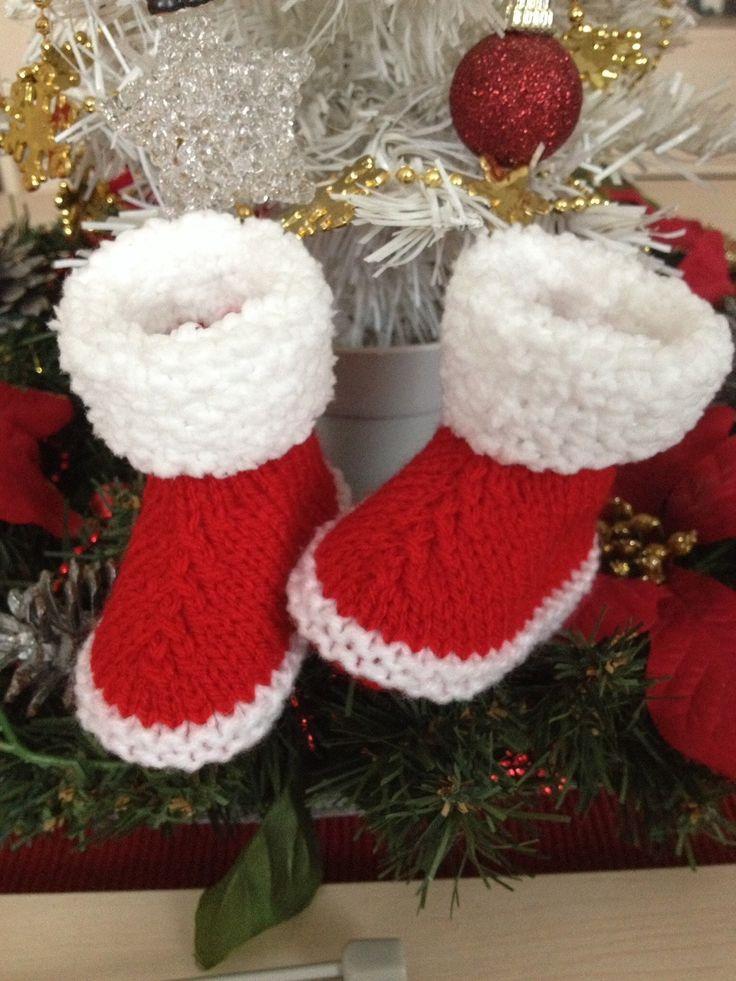 Bottes de Noël pour bébé taille naissance/1 mois rouge et blanc : Mode Bébé par tricot-bonnie