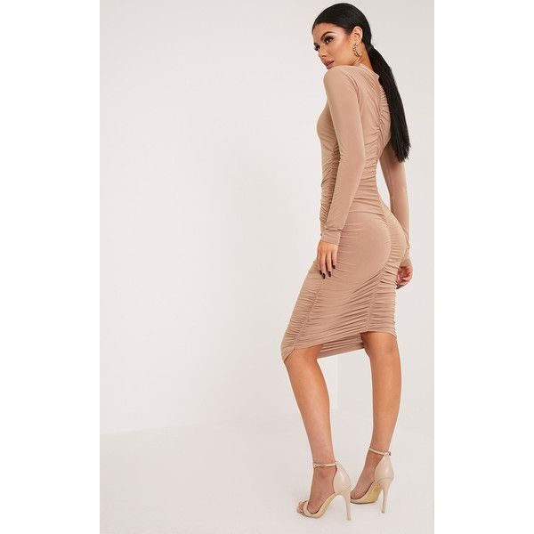 Niyah Camel Slinky Ruched Midi Dress ($28) ❤ liked on Polyvore featuring dresses, camel, ruched cocktail dress, ruched midi dress, bodycon dress, bodycon party dresses and ruched dress