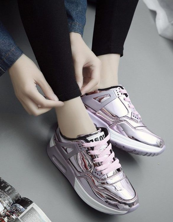 pembe yüksek taban parlak spor ayakkabı sk21413
