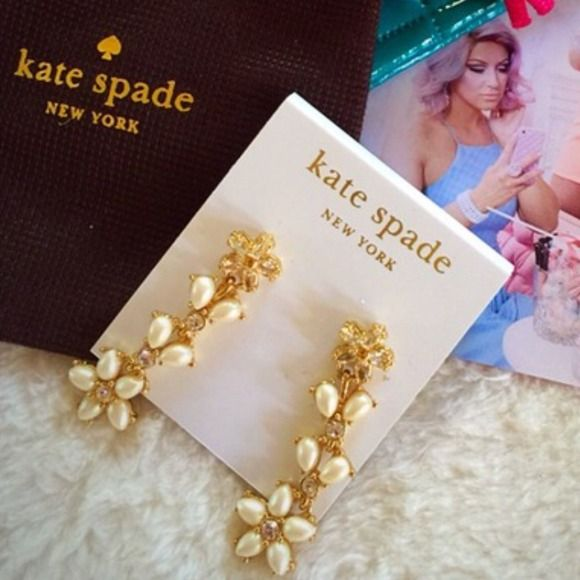 HOST PICKKate Spade flower drop earrings SALE! Gorgeous and feminine Kate Spade tiered flower drop earrings have faux pearls, crystals, and the signature Kate spade gold plating. Beautiful and feminine for that holiday party or anytime you want to look special. Brand-new with tags! Retail $88 kate spade Jewelry Earrings