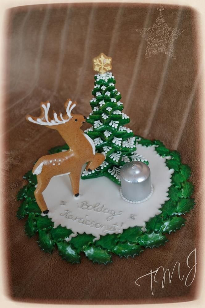 Deer and pine candleholder
