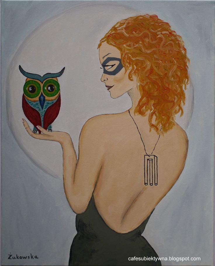 Woman with owl. Żukowska.