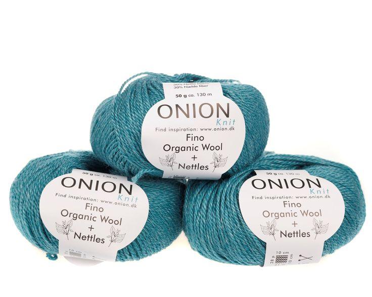 Petrol V814 - No. 4 - Fin økologisk uld med nældefibre - Onion - Strikkepinden - Nøgler á 50 gram